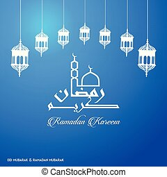 Ramadan Kareem Creative typography with a Minaret and Domb of Masjid on a blue Background