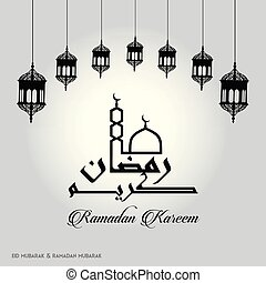 Ramadan Kareem Creative typography with a Minaret and Domb of Masjid on a White Background