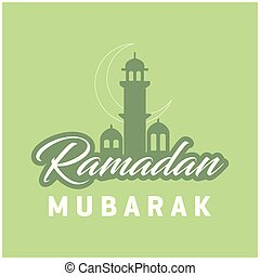 Ramadan Kareem Cresent Moon Lettering Green Mosque Background