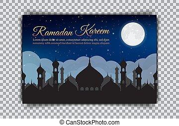 Ramadan Kareem. Design of a holiday card on a transparent background