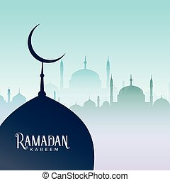 ramadan kareem design with mosque silhouettes