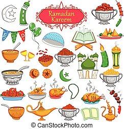 Ramadan Kareem designing object for Eid celebration in vector