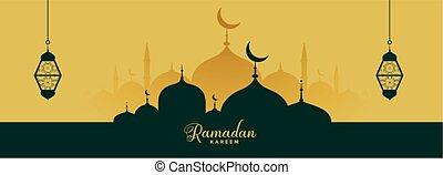 ramadan kareem elegant banner with mosque and lantern
