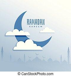 ramadan kareem festival background with moon and cloud