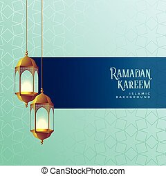 ramadan kareem festival card design with hanging lanterns