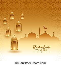 ramadan kareem festival card with mosque and lamps