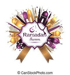 Ramadan Kareem frame with mosque.