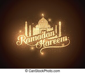 ramadan, kareem, glänzend, etikett
