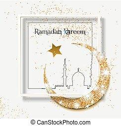 Ramadan Kareem Glitter with Geometric Frame Vector Background.