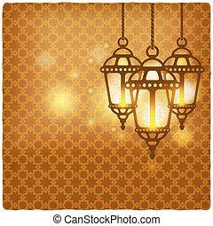 ramadan kareem golden background with shining lanterns