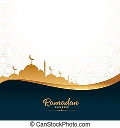 ramadan kareem golden mosque festival background design