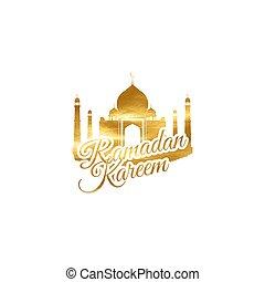 ramadan, kareem, goldenes, etikett