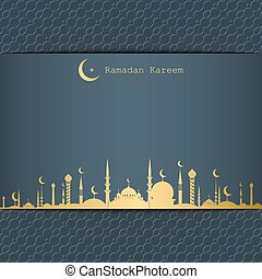 ramadan, kareem, grüßen karte