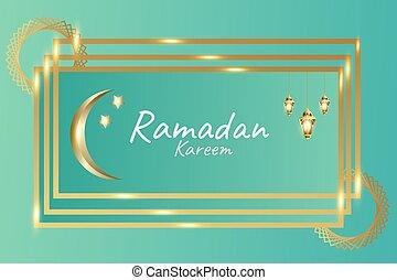 Ramadan kareem green background with shiny gold