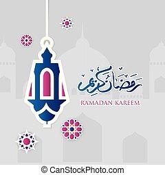Ramadan kareem greeting arabic calligraphy with paper cut flowers, mosque and lantern