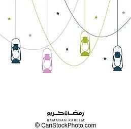 Ramadan kareem greeting, background with lanterns. Holy month of muslim year