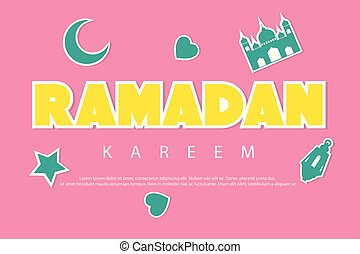 Ramadan kareem greeting background with stickers. Crescent moon, mosque, star, lantern and love