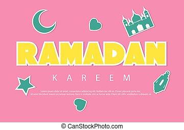 Moon, mosque, star, dark green background inscription ramadan