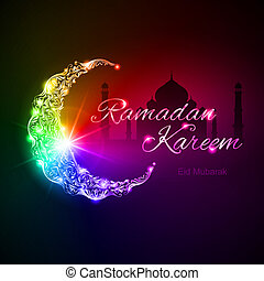Colorful glowing ornate crescent with mosque and bright flare. Greeting card of holy Muslim month Ramadan