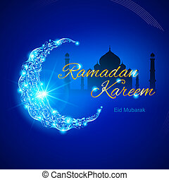 Ramadan Kareem greeting card - Glowing ornate crescent with...