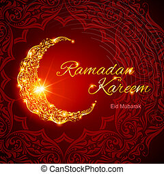 Ramadan Kareem greeting card - Glowing ornate crescent with...