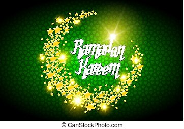 Ramadan Kareem greeting card on green background. Vector illustration.