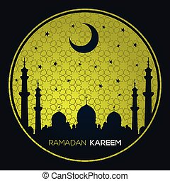Ramadan Kareem greeting card or banner with Mosque silhouette. Background is decorated with arabic pattern