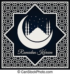 Ramadan Kareem greeting card or banner with Mosque silhouette on crescent moon and Arabic ornament, Islamic pattern.