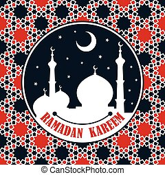 Ramadan Kareem greeting card or banner with Mosque silhouette