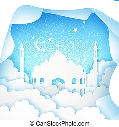Ramadan Kareem Greeting card. Origami Mosque Window. Holy month. Paper cut Cloud.