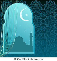Ramadan Kareem. Greeting card template. Illustration in...