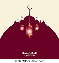ramadan kareem greeting card with arabic lamps