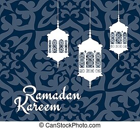 Ramadan Kareem greeting card with arabic lanterns