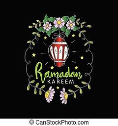 Ramadan kareem greeting card with floral frame.