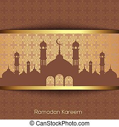 Ramadan Kareem greeting card with golden mosque and arabic ornament. Vector.