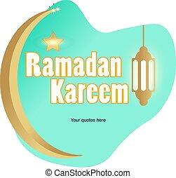 Ramadan kareem greeting card with green liquid background