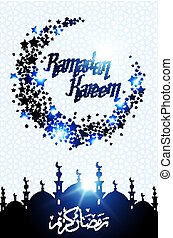 Ramadan Kareem greeting card with half moon and star, blue color vector illustration