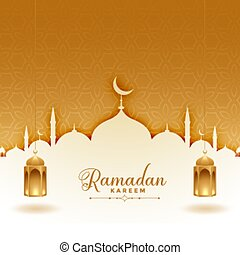 ramadan kareem greeting card with mosque and lanterns