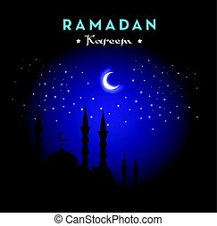 Ramadan Kareem greeting card with mosque and night sky. Moon and stars. Vector illustration