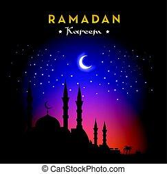 Ramadan Kareem greeting card with mosque and night sky. Moon...