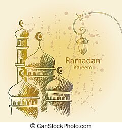 Ramadan Kareem greeting card with mosque.