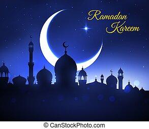 Ramadan Kareem greeting card with muslim mosque
