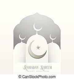 ramadan kareem greeting design in clean white style