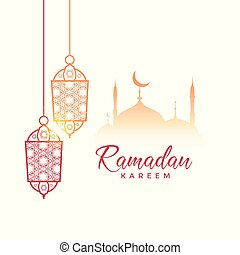 ramadan kareem greeting design with hanging lamps and mosque