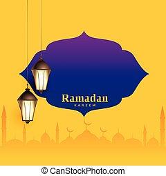 ramadan kareem greeting design with text space