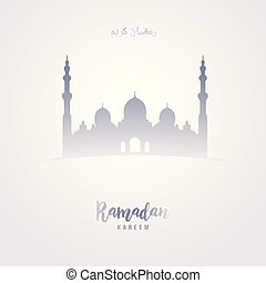 Ramadan Kareem Greeting in arabic as shape of Mosque on grey background.