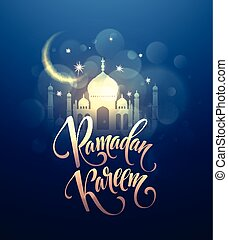 Ramadan kareem greeting card with realistic moon with stars in the