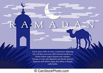 Ramadan Kareem greeting - Ramadan greeting with camel,...
