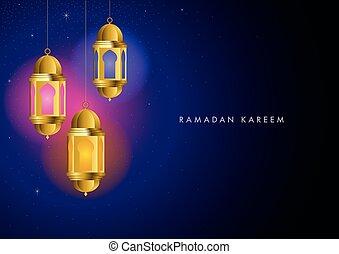 Ramadan Kareem greeting with colorful lights from hanging lanterns