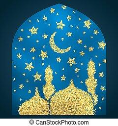 Ramadan Kareem greeting with golden mosque